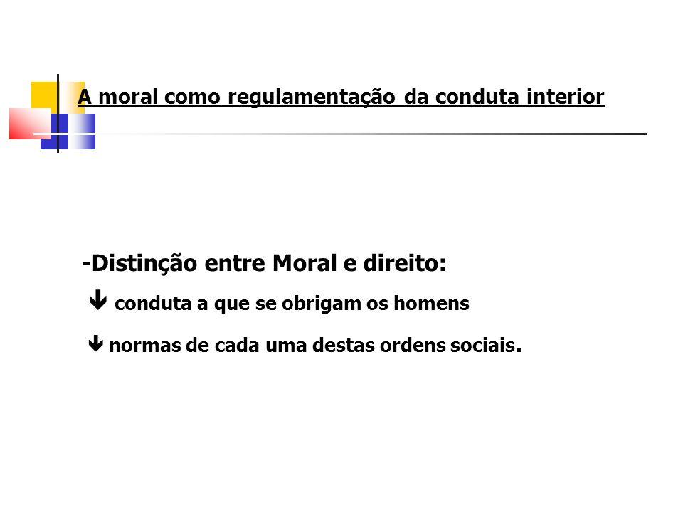A moral como regulamentação da conduta interior