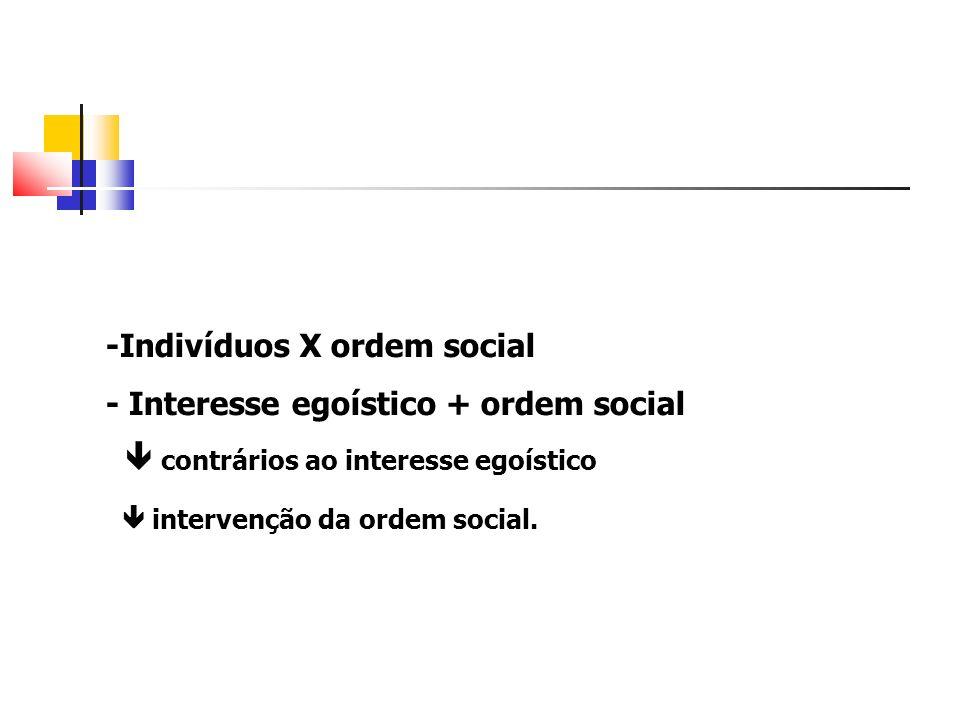 -Indivíduos X ordem social - Interesse egoístico + ordem social