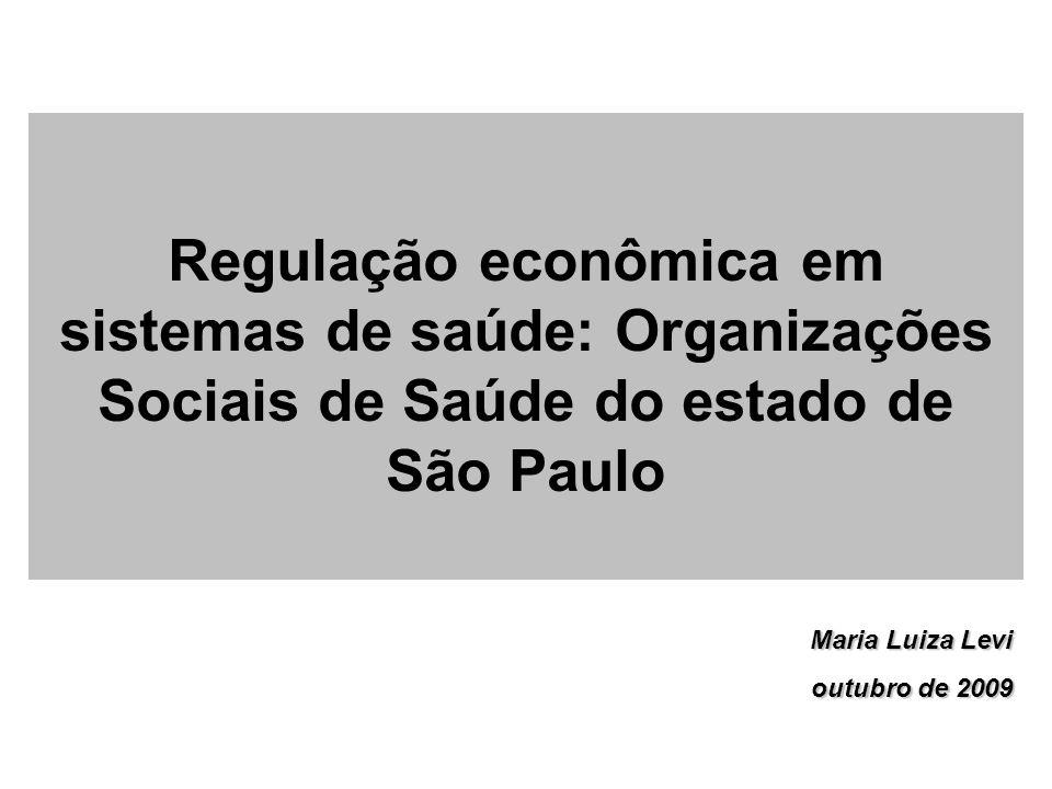 Regulação econômica em sistemas de saúde: Organizações Sociais de Saúde do estado de São Paulo
