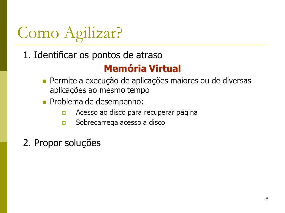 Como Agilizar 1. Identificar os pontos de atraso Memória Virtual