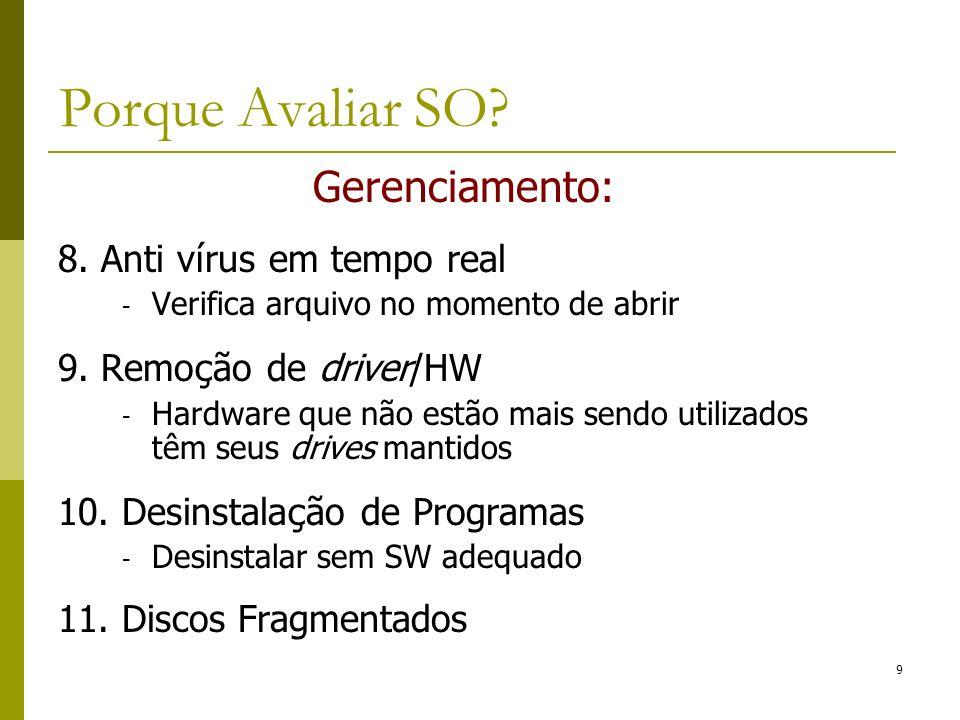 Porque Avaliar SO Gerenciamento: 8. Anti vírus em tempo real