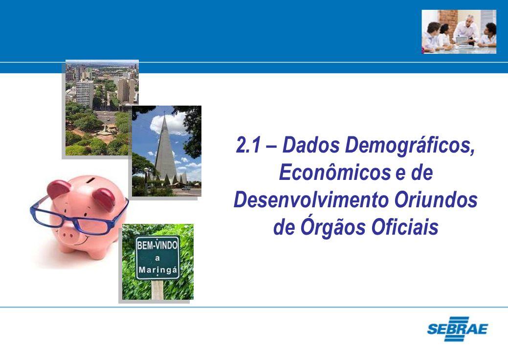 2.1 – Dados Demográficos, Econômicos e de Desenvolvimento Oriundos de Órgãos Oficiais