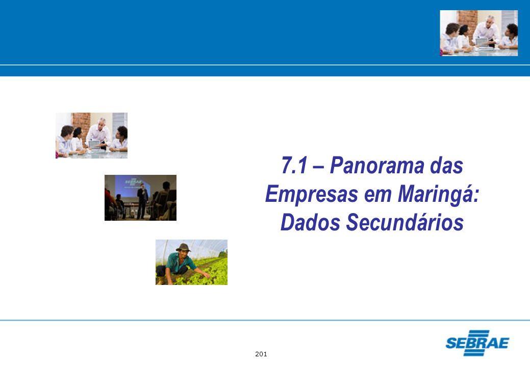 7.1 – Panorama das Empresas em Maringá: Dados Secundários