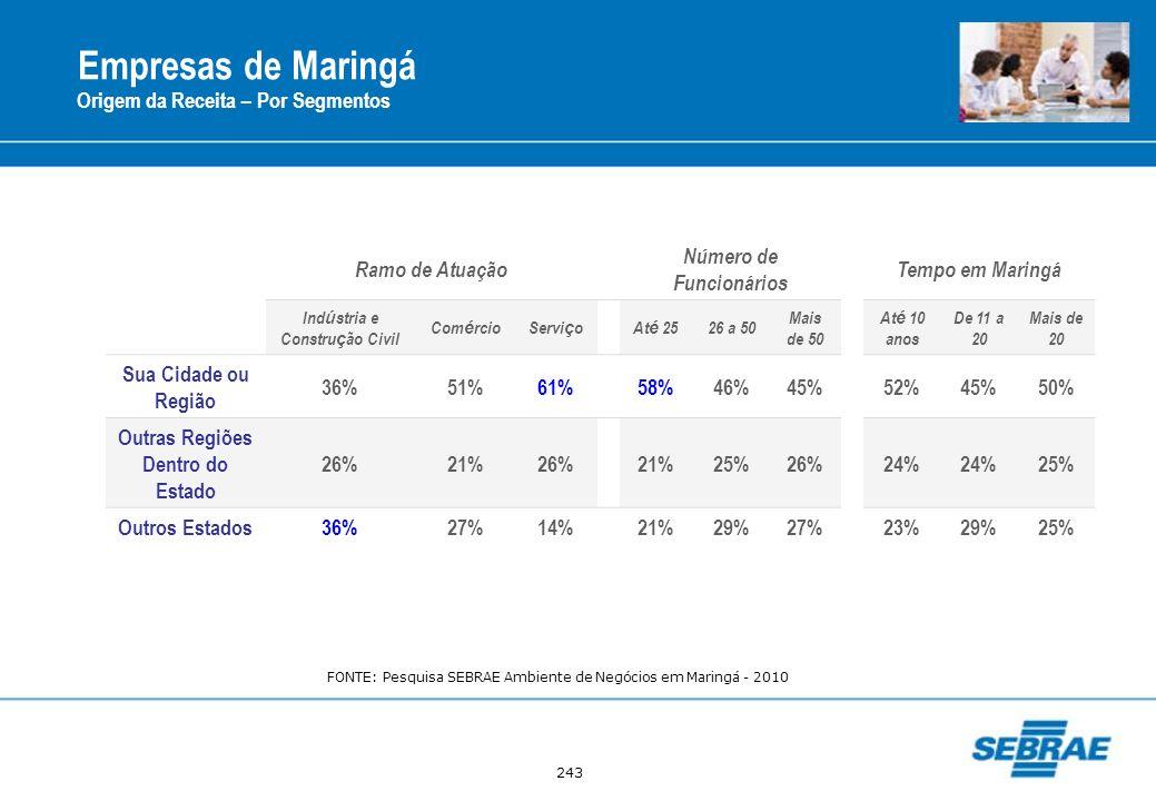 Empresas de Maringá Origem da Receita – Por Segmentos Ramo de Atuação