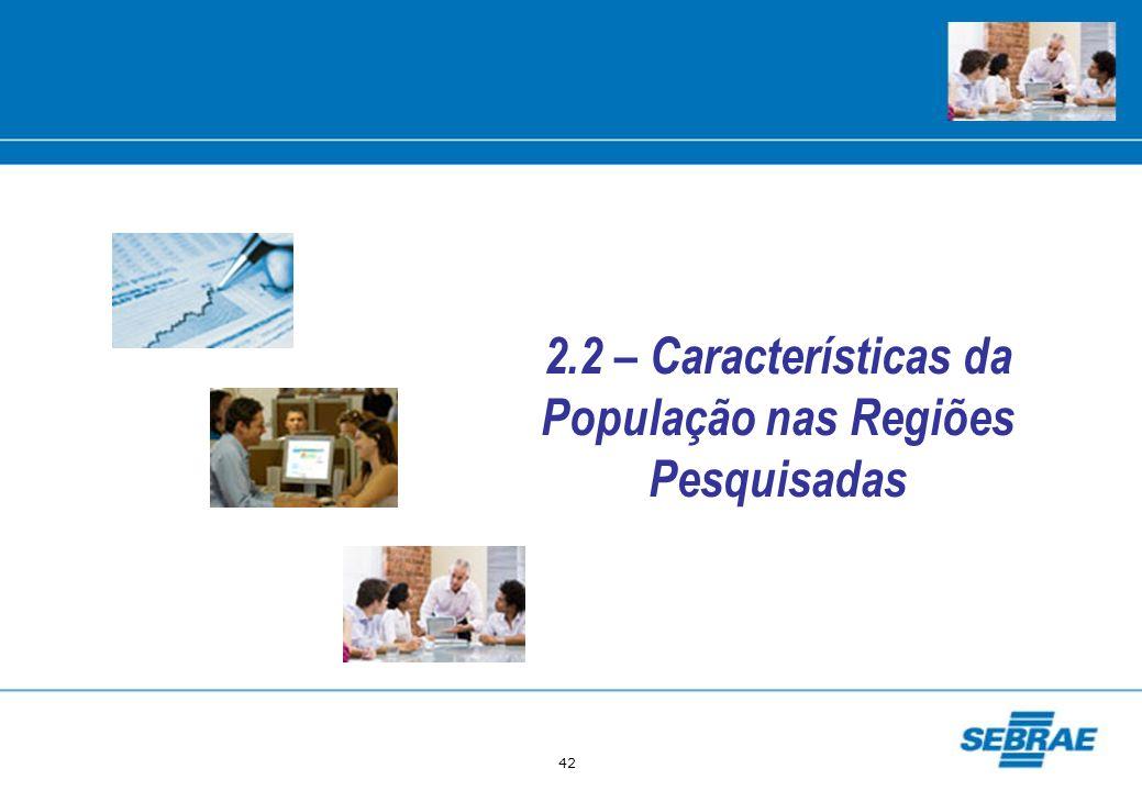 2.2 – Características da População nas Regiões Pesquisadas
