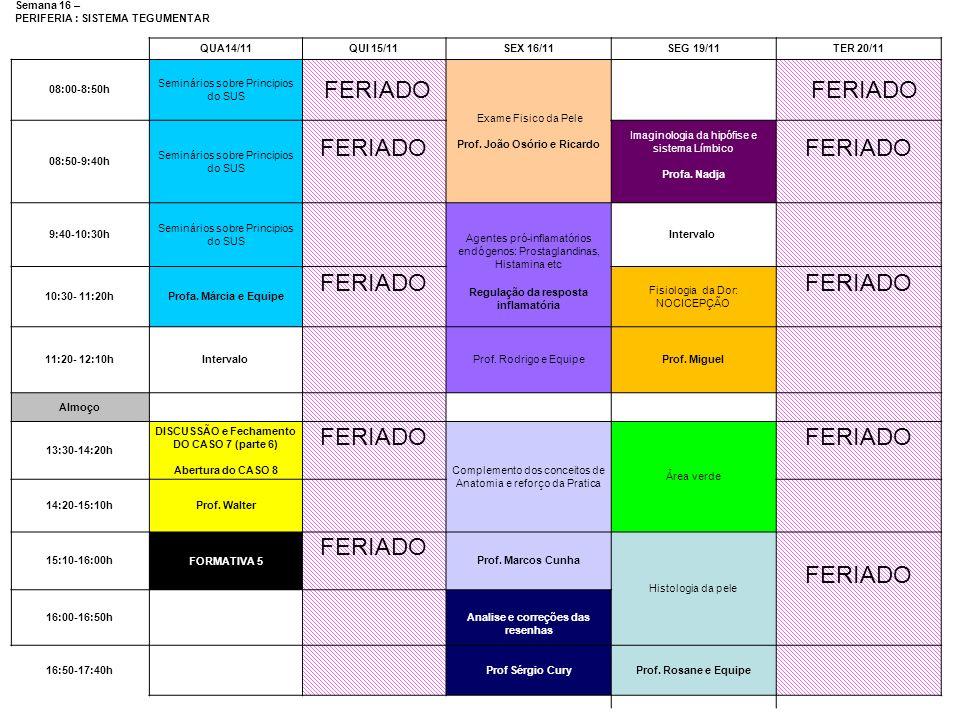 FERIADO Semana 16 – PERIFERIA : SISTEMA TEGUMENTAR QUA14/11 QUI 15/11