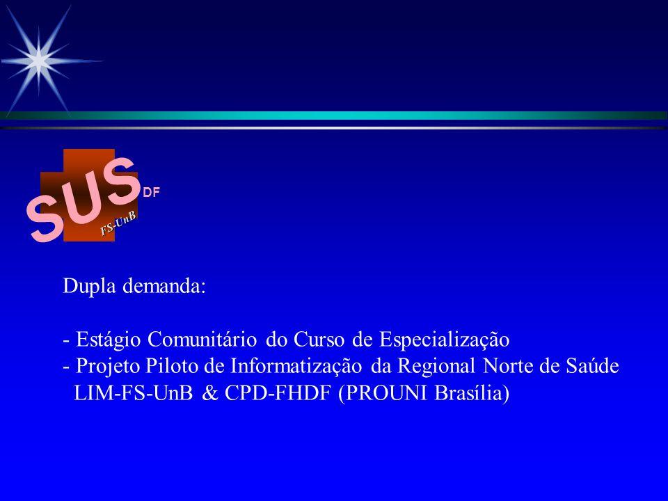 SUS Dupla demanda: - Estágio Comunitário do Curso de Especialização
