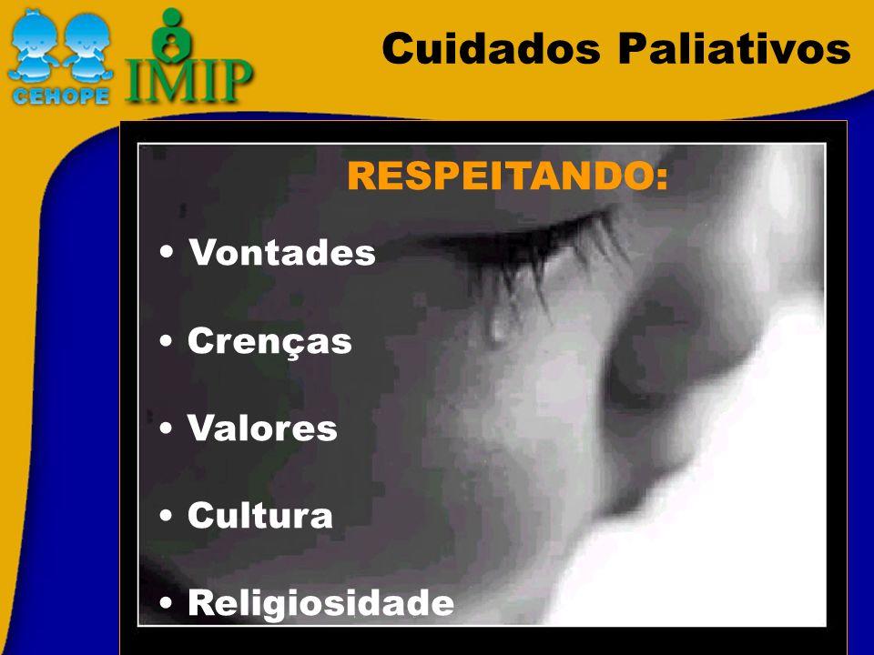 Cuidados Paliativos RESPEITANDO: Vontades Crenças Valores Cultura