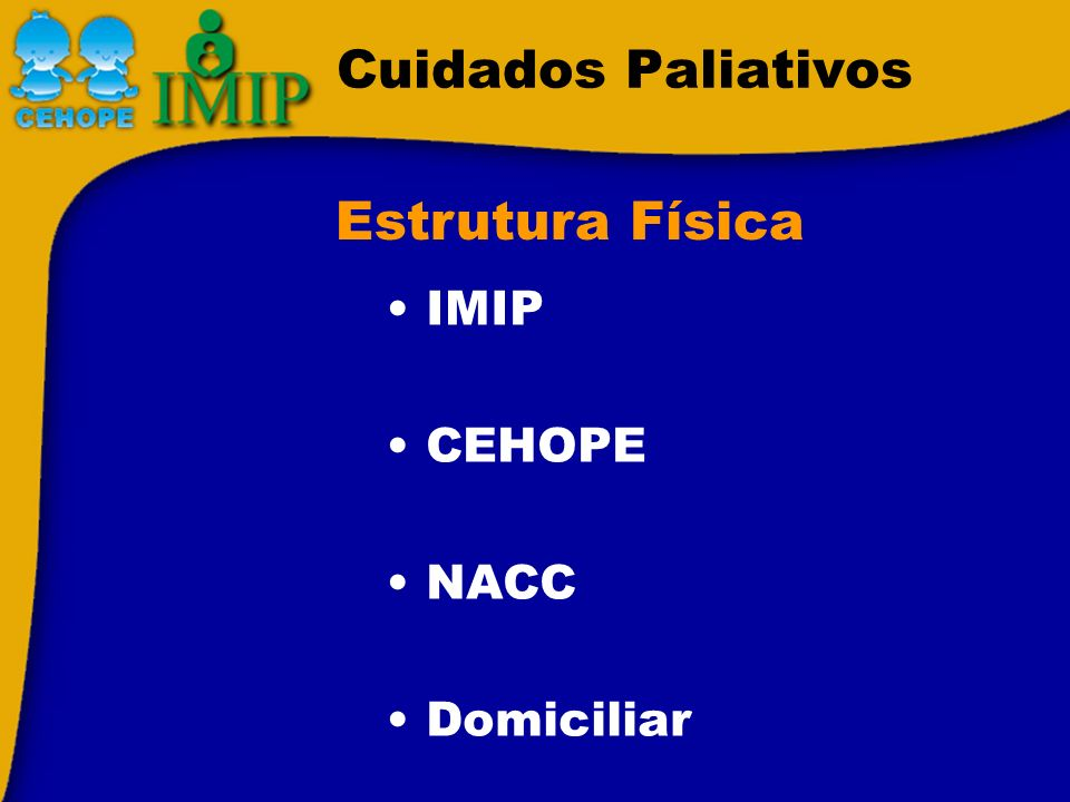 Cuidados Paliativos Estrutura Física IMIP CEHOPE NACC Domiciliar