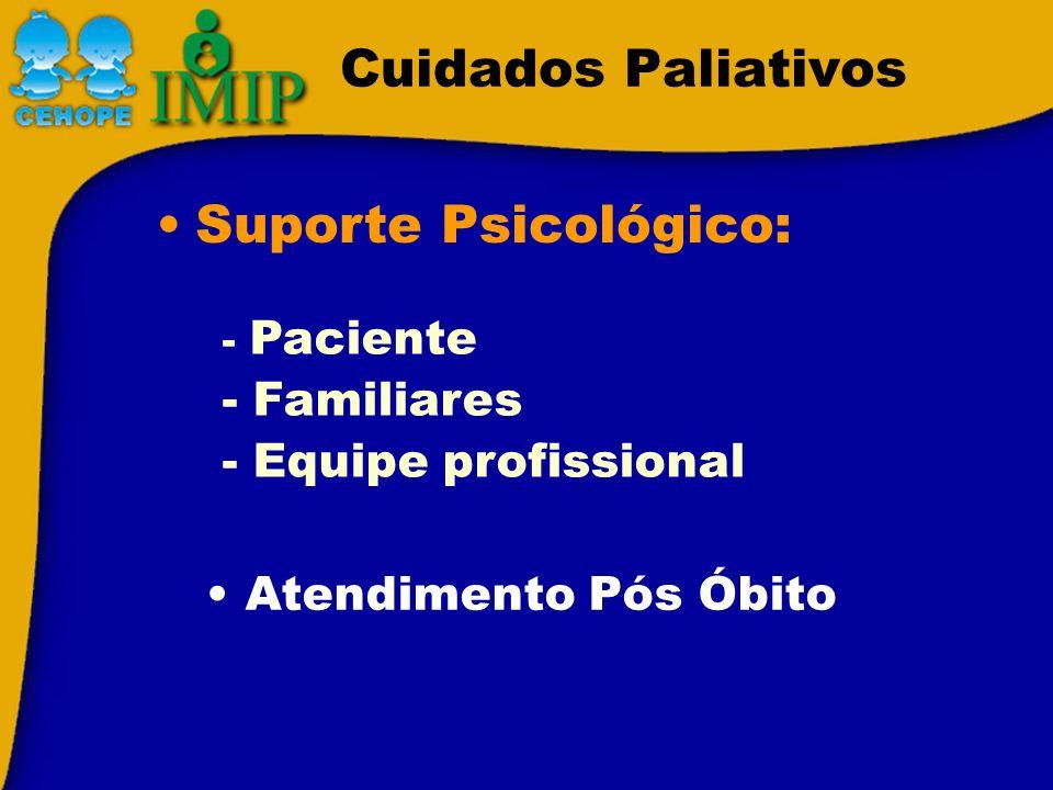 Cuidados Paliativos Suporte Psicológico: - Familiares
