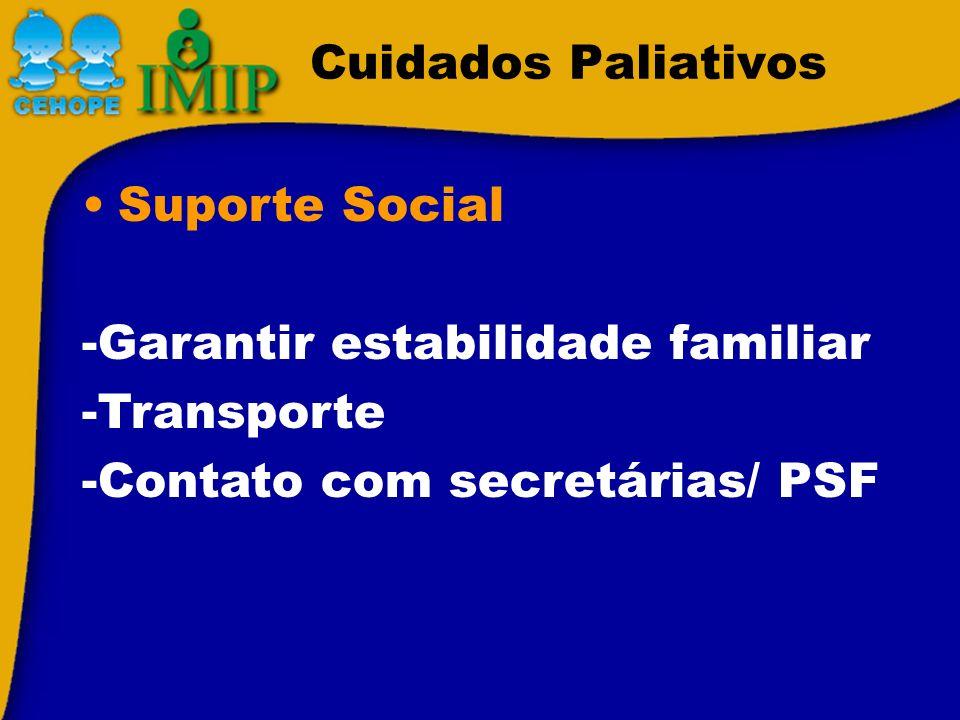 Cuidados Paliativos Suporte Social. -Garantir estabilidade familiar.