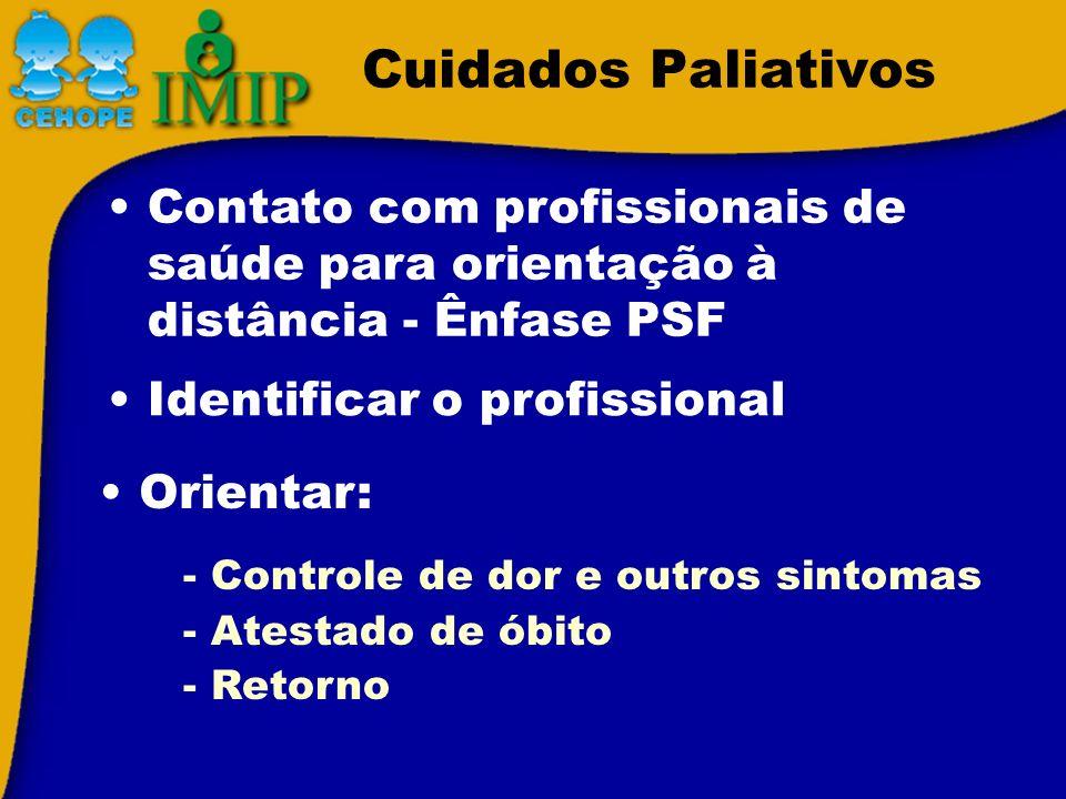 Cuidados Paliativos Contato com profissionais de saúde para orientação à distância - Ênfase PSF. Identificar o profissional.