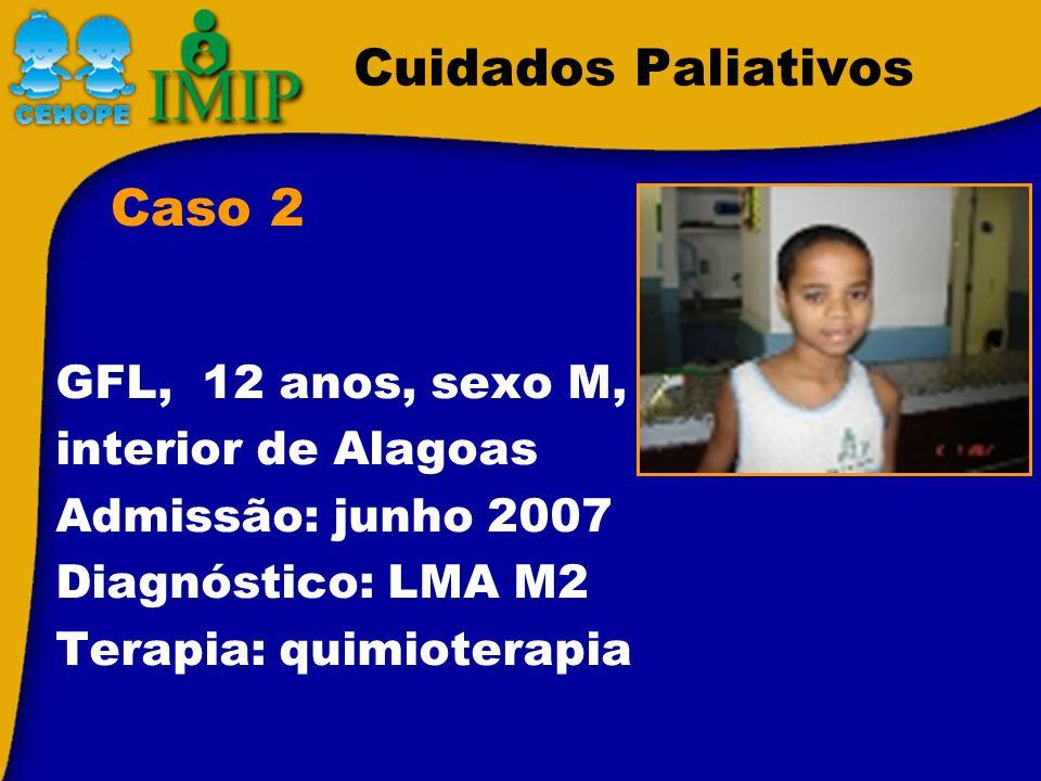 Cuidados Paliativos Caso 2 GFL, 12 anos, sexo M, interior de Alagoas