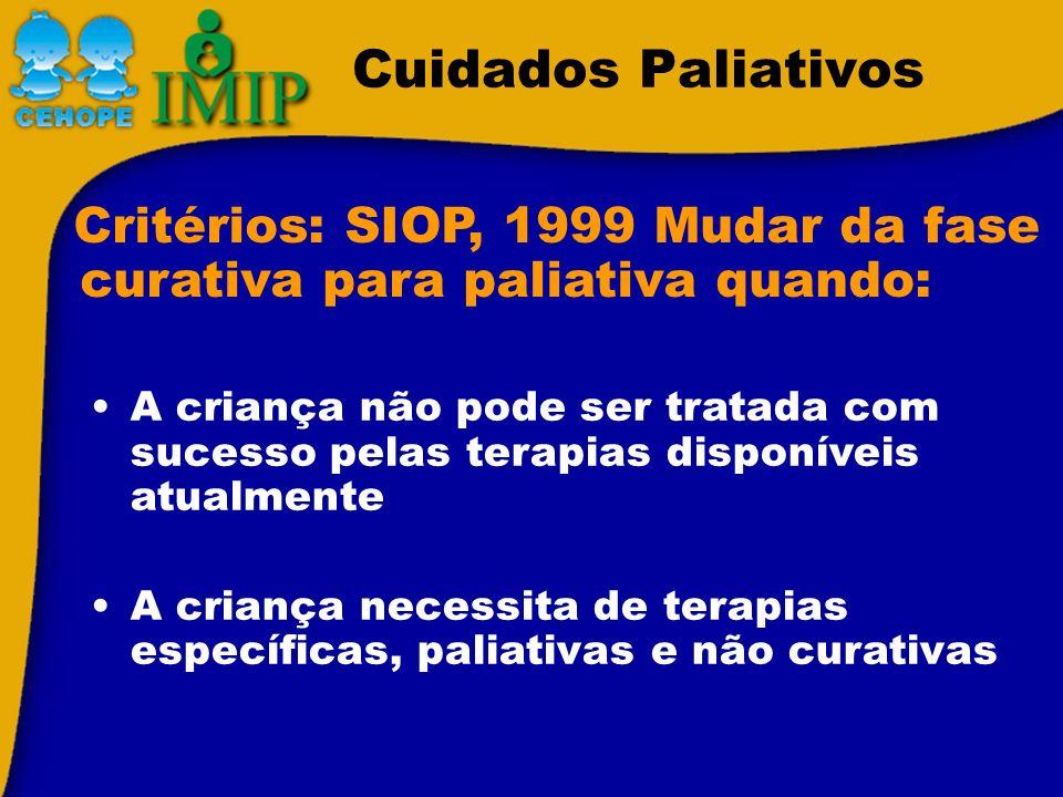 Cuidados Paliativos Critérios: SIOP, 1999 Mudar da fase curativa para paliativa quando: