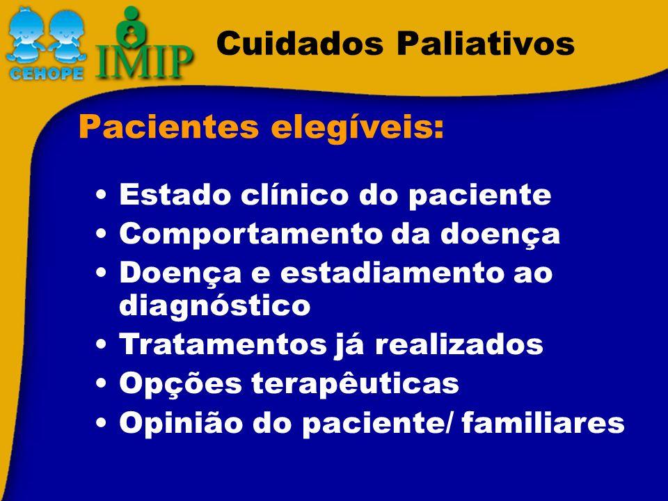Cuidados Paliativos Pacientes elegíveis: Estado clínico do paciente