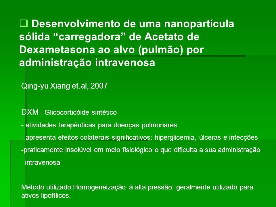 Desenvolvimento de uma nanopartícula sólida carregadora de Acetato de Dexametasona ao alvo (pulmão) por administração intravenosa