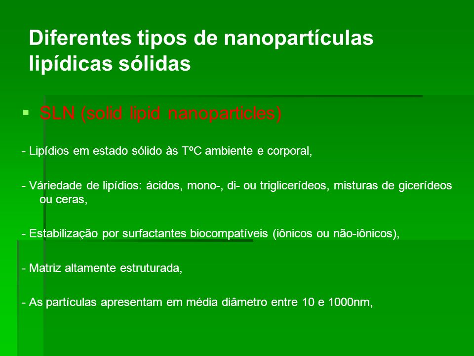 Diferentes tipos de nanopartículas lipídicas sólidas