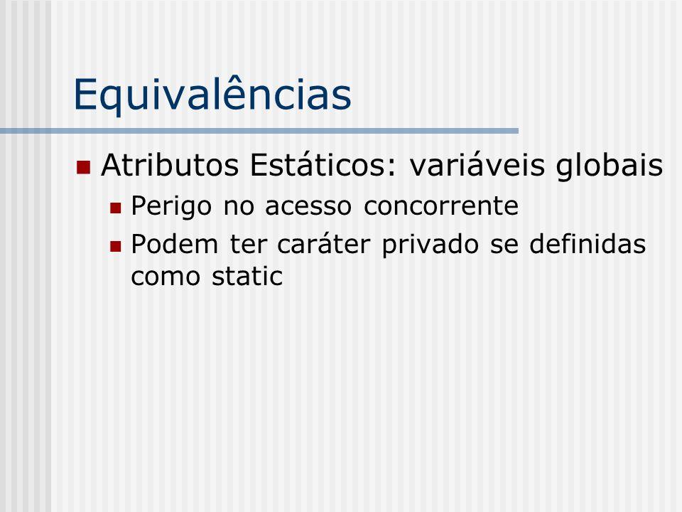 Equivalências Atributos Estáticos: variáveis globais