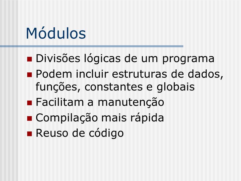 Módulos Divisões lógicas de um programa
