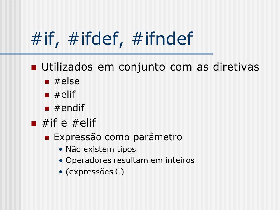 #if, #ifdef, #ifndef Utilizados em conjunto com as diretivas