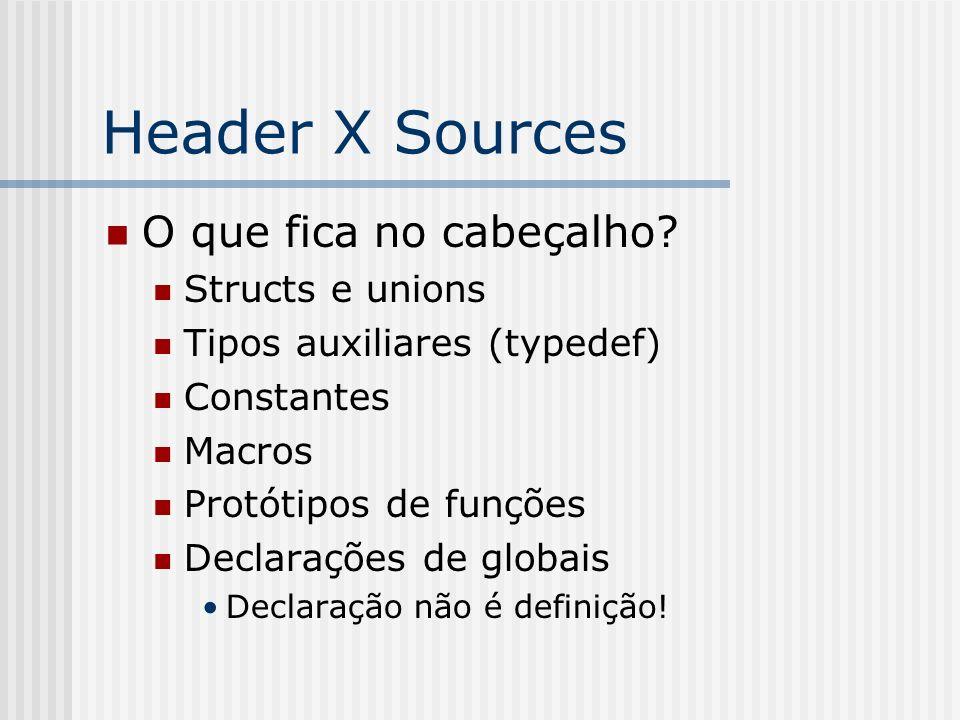 Header X Sources O que fica no cabeçalho Structs e unions