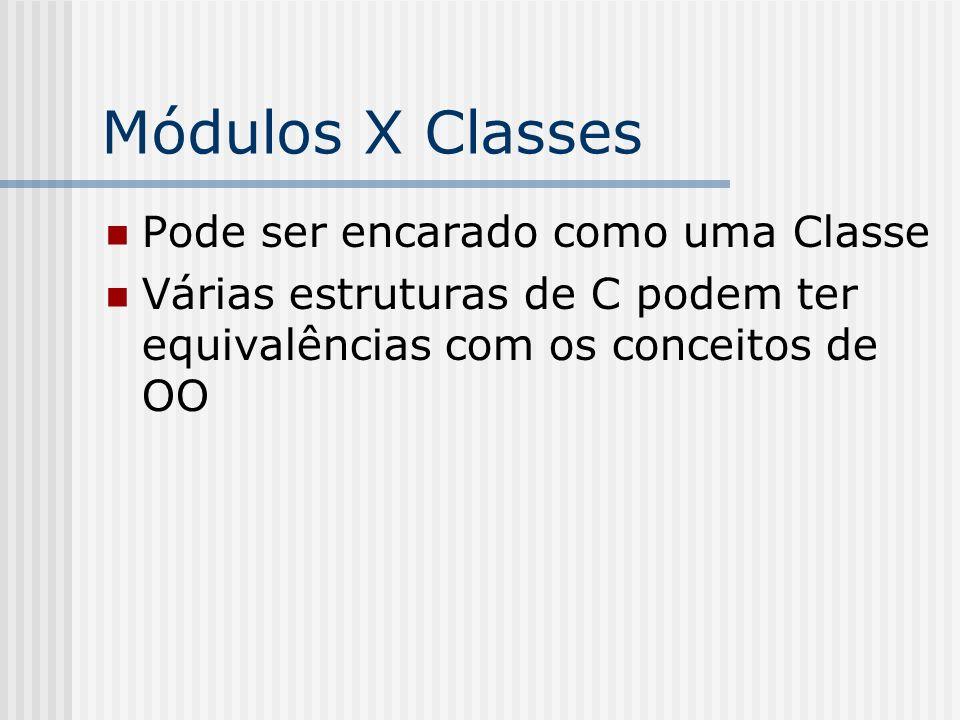 Módulos X Classes Pode ser encarado como uma Classe