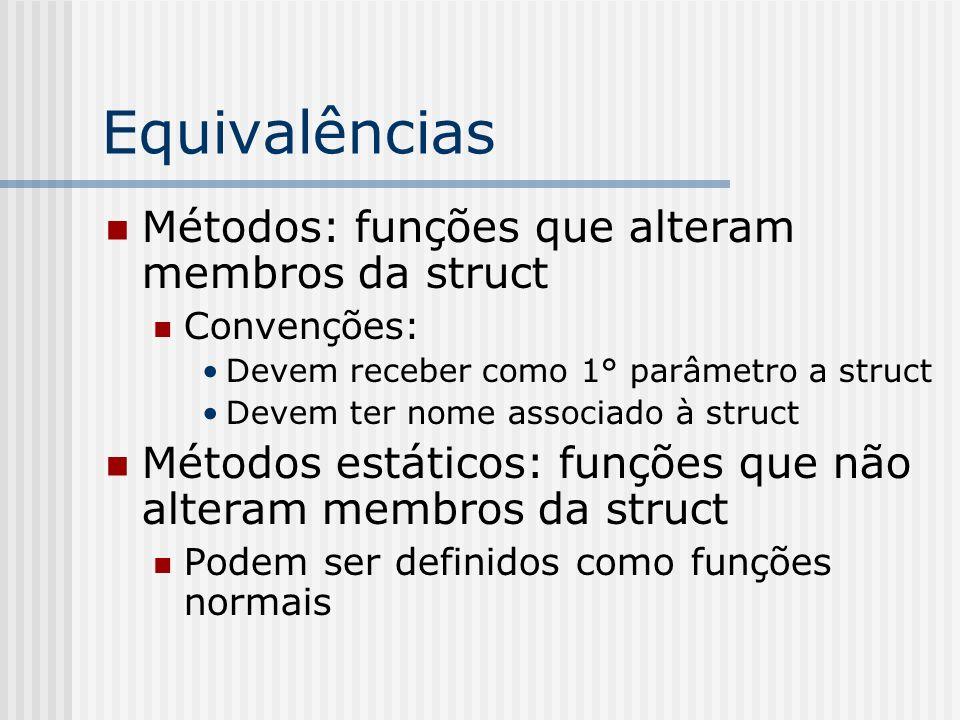 Equivalências Métodos: funções que alteram membros da struct