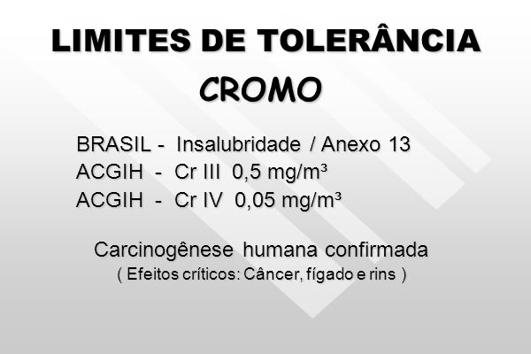 CROMO LIMITES DE TOLERÂNCIA BRASIL - Insalubridade / Anexo 13