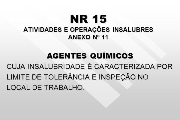 NR 15 ATIVIDADES E OPERAÇÕES INSALUBRES ANEXO Nº 11