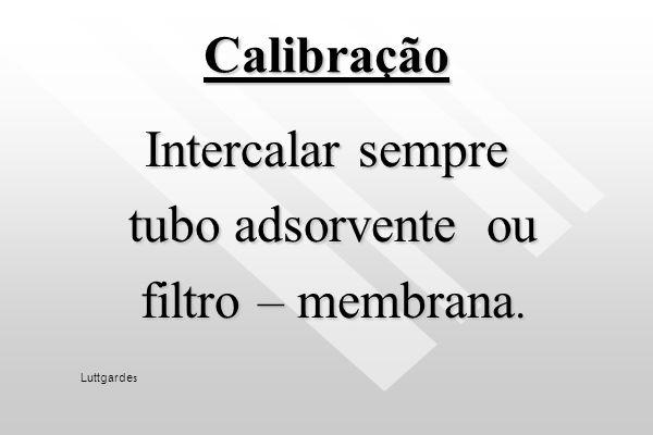 Calibração Intercalar sempre tubo adsorvente ou filtro – membrana.