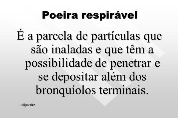 Poeira respirável É a parcela de partículas que são inaladas e que têm a possibilidade de penetrar e se depositar além dos bronquíolos terminais.