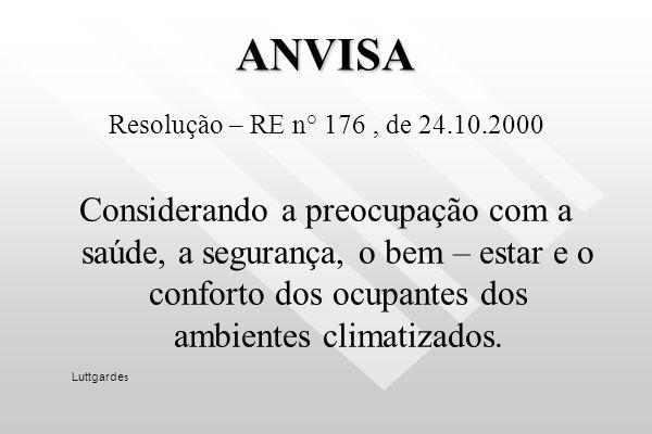 ANVISA Resolução – RE n° 176 , de 24.10.2000.