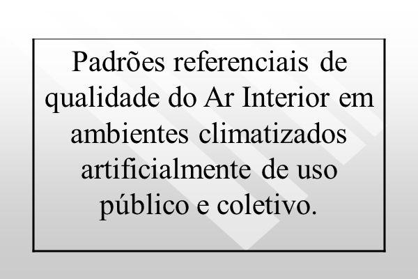 Padrões referenciais de qualidade do Ar Interior em ambientes climatizados artificialmente de uso público e coletivo.