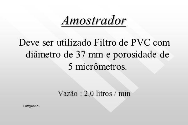 Amostrador Deve ser utilizado Filtro de PVC com diâmetro de 37 mm e porosidade de 5 micrômetros. Vazão : 2,0 litros / min.
