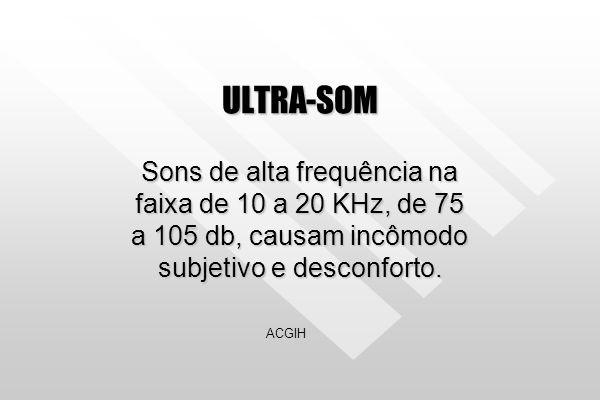 ULTRA-SOM Sons de alta frequência na faixa de 10 a 20 KHz, de 75 a 105 db, causam incômodo subjetivo e desconforto.
