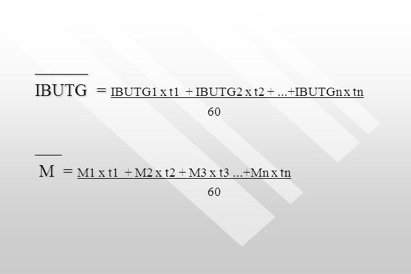 IBUTG = IBUTG1 x t1 + IBUTG2 x t2 + ...+IBUTGn x tn