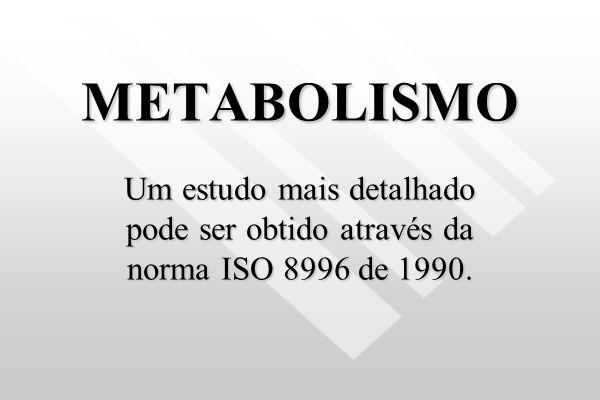 METABOLISMO Um estudo mais detalhado pode ser obtido através da norma ISO 8996 de 1990.