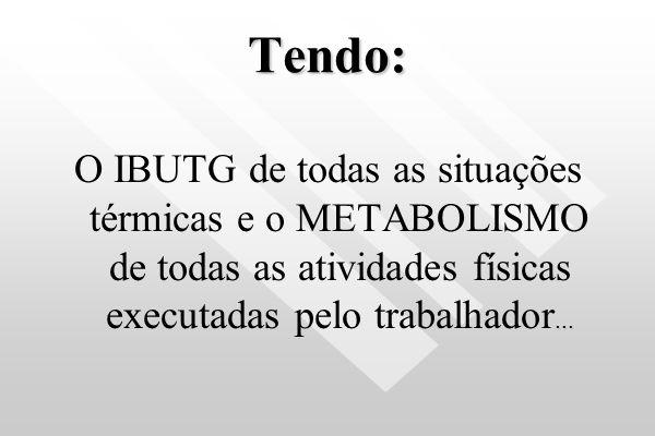 Tendo: O IBUTG de todas as situações térmicas e o METABOLISMO de todas as atividades físicas executadas pelo trabalhador...