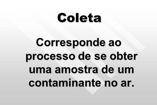 Coleta Corresponde ao processo de se obter uma amostra de um contaminante no ar.