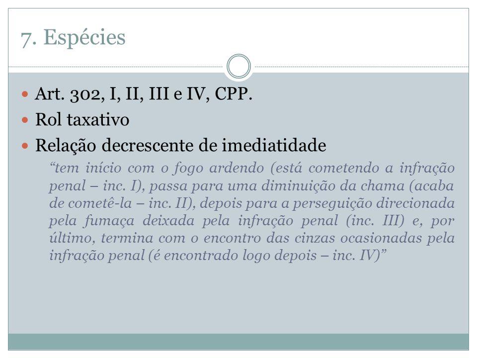 7. Espécies Art. 302, I, II, III e IV, CPP. Rol taxativo