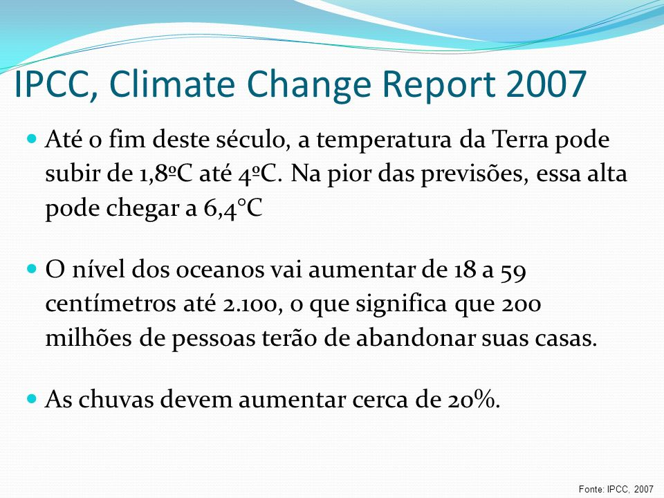 IPCC, Climate Change Report 2007