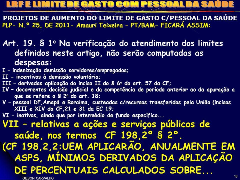 PROJETOS DE AUMENTO DO LIMITE DE GASTO C/PESSOAL DA SAÚDE