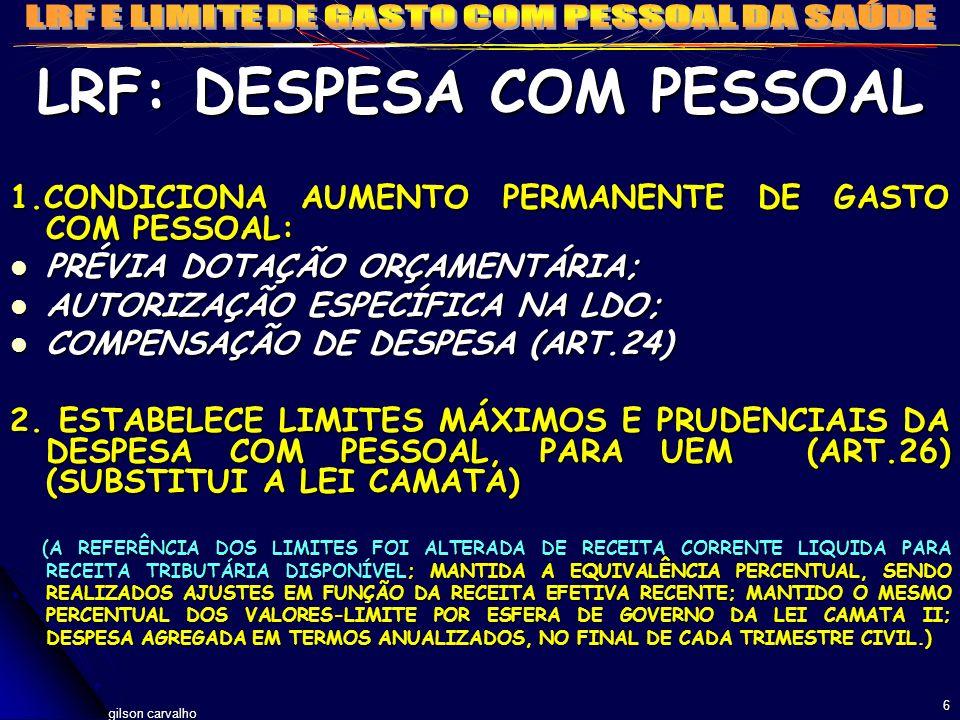 LRF: DESPESA COM PESSOAL