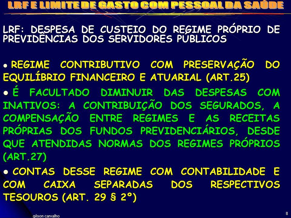 LRF: DESPESA DE CUSTEIO DO REGIME PRÓPRIO DE PREVIDÊNCIAS DOS SERVIDORES PÚBLICOS