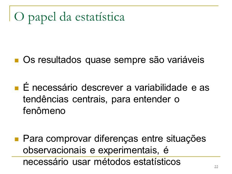 O papel da estatística Os resultados quase sempre são variáveis