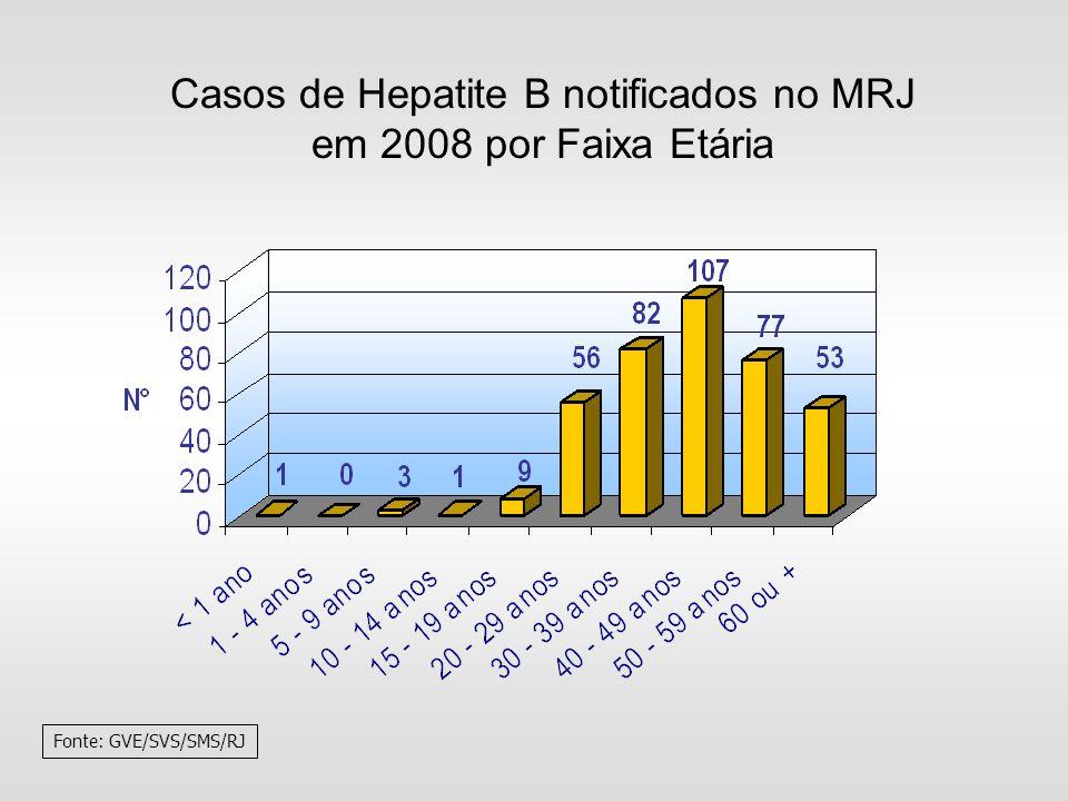 Casos de Hepatite B notificados no MRJ em 2008 por Faixa Etária