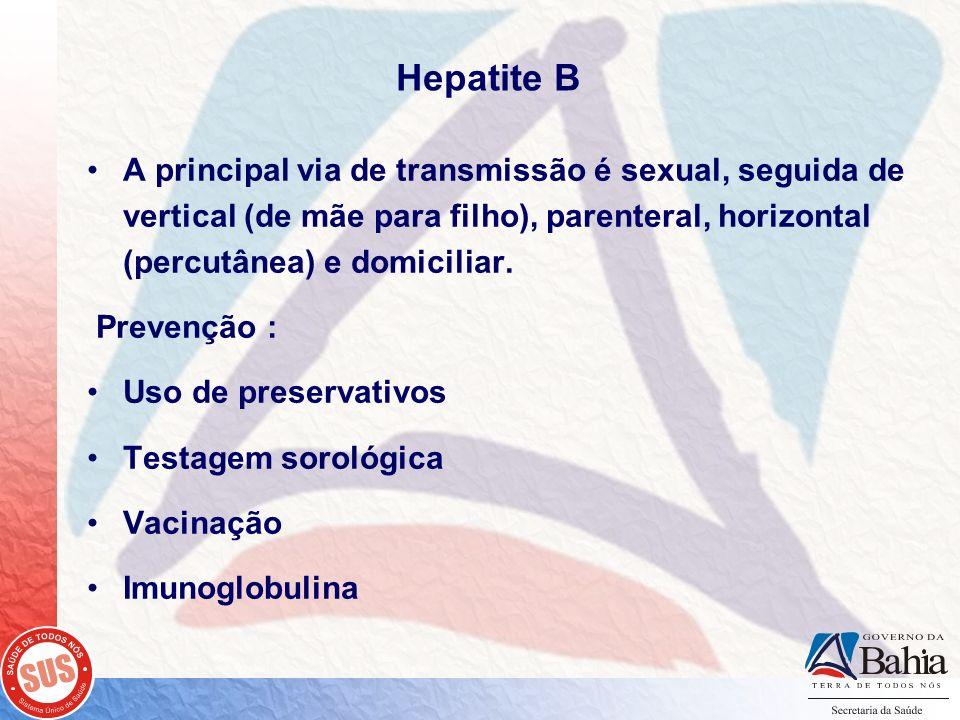 Hepatite B A principal via de transmissão é sexual, seguida de vertical (de mãe para filho), parenteral, horizontal (percutânea) e domiciliar.