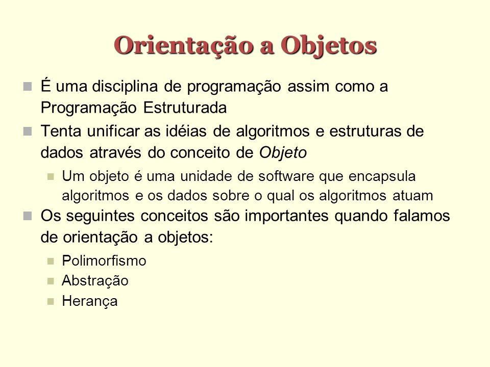 Orientação a Objetos É uma disciplina de programação assim como a Programação Estruturada.