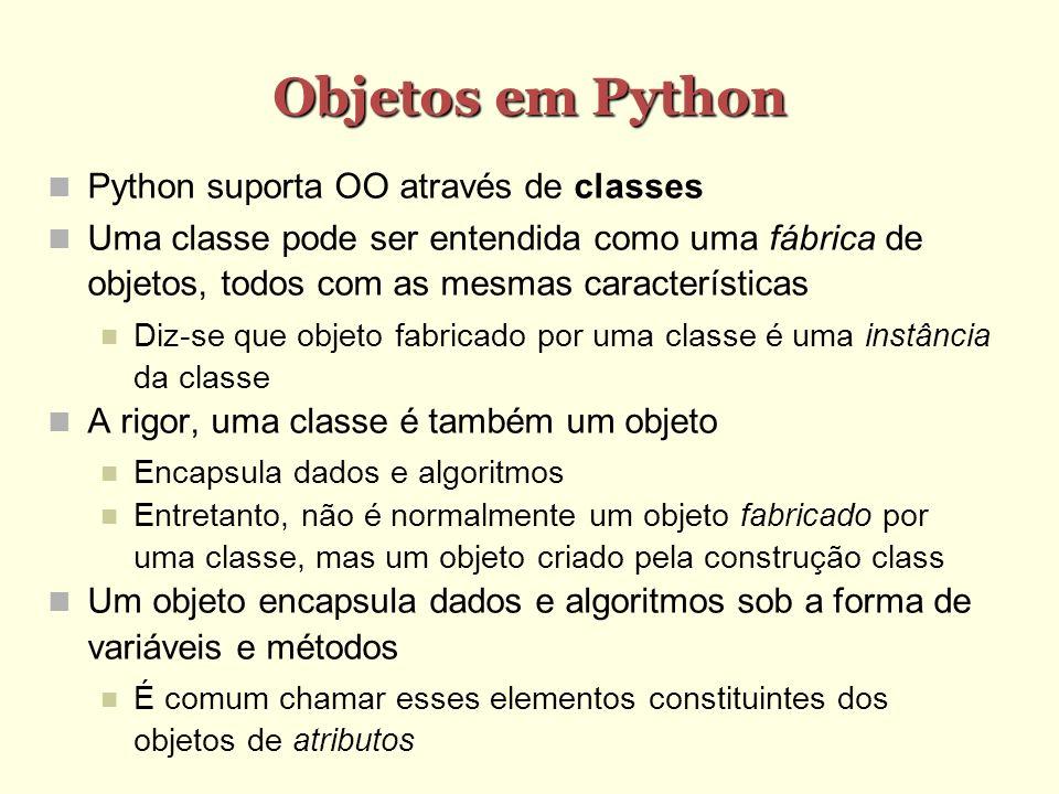 Objetos em Python Python suporta OO através de classes