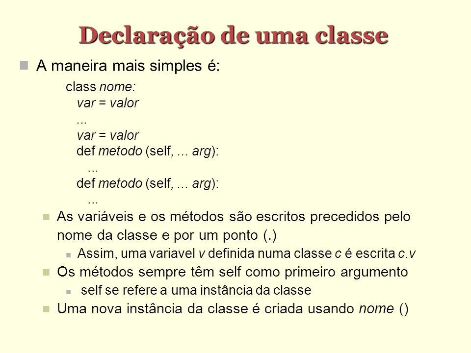 Declaração de uma classe